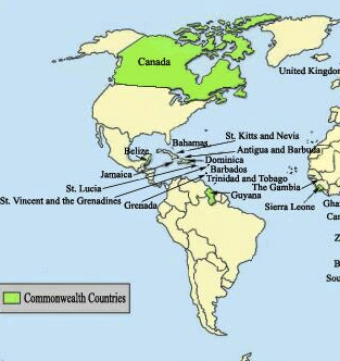 Map of the Commonwealth in the Western Hemisphere