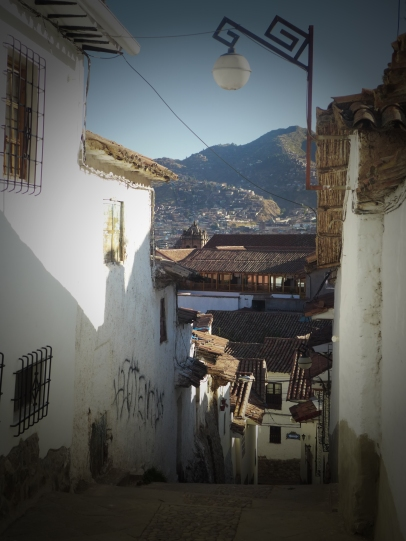 Peering down the hill from San Blas