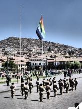 Raising Cuzco's flag on a holiday
